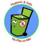 image of wheelie bin with text: Hygienic and safe, No flies on me!