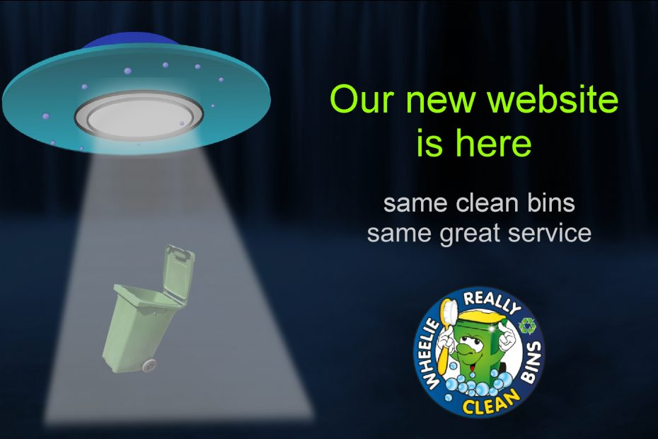 flying saucer lowering wheelie bin to earth with new website announcement